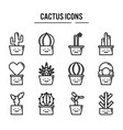 cactus icon in outline design for web design vector image