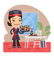 cartoon female sushi chef vector image