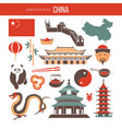 chinese national things collection isolated on vector image