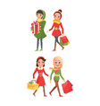 christmas preparation shoppers with paper bags vector image vector image