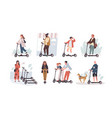 collection funny people riding kick scooters vector image
