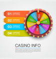 colorful fortune wheel casino info numbers vector image