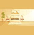cozy bedroom with double bed interior vector image