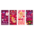cupid valentines day gift and hearts banners vector image vector image
