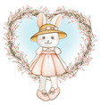 cute watercolor spring bunny with pink dress vector image