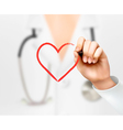 Doctors hand drawing a heart symbol vector image vector image