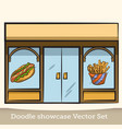 doodle showcase food set vector image vector image