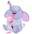 Elephant eating ice cream vector image