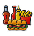 fast food meals on white background vector image vector image