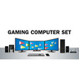gaming desktop computer set with multi monitor vector image