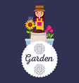 garden badge woman potted flowers decoration vector image