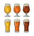 glass with three types beer vintage color vector image vector image