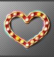 golden heart frame sign glowing light vector image vector image