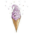 hand drawn with ice cream cone vector image vector image