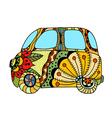 Hippie vintage car a mini van vector image vector image