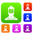 hipsster man set collection vector image vector image