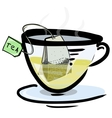 Hot green tea in a glass cup vector image