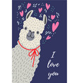 i love you cute llama with heart template for vector image