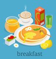 isometric breakfast and kitchen equipment icons vector image vector image