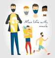 lifestyle man with mask in casual sports and vector image vector image