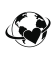 love earth black simple icon vector image