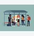people waiting their bus at bus stop checking vector image