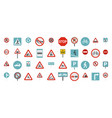 road sign icon set flat style vector image