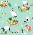 seamless pattern with japanese cranes and flowers vector image vector image