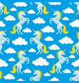 seamless pattern with unicorns and clouds vector image vector image