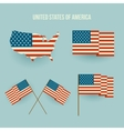 set american flag and map flat design vector image