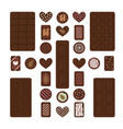 set different chocolate bars and candies vector image vector image