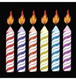 Set of Colorful Burning Retro Candles vector image vector image
