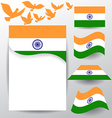 Set of India flag with flying pigeon vector image