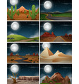 set of nature landscape at night vector image vector image