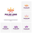 set of pulse logo design concept people beat vector image vector image