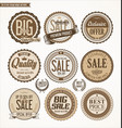 set of retro vintage brown labels and badges vector image vector image