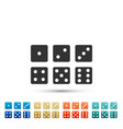 set of six dices icon isolated on white background vector image