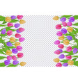 spring floral border with colorful tulips with vector image
