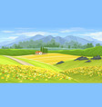 summer beautiful landscape with farmhouse vector image
