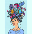 thoughts modern woman concept vector image vector image