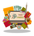 travel planning to paris flat concept vector image vector image