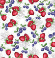 Watercolor Seamless pattern with strawberry vector image vector image