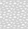 white silhouettes different dinosaurus vector image vector image