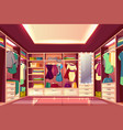 womans walk-in closet interior cartoon vector image vector image