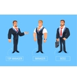 Smiling businessman of cartoon boss manager vector image