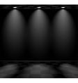Black empty room with checkered floor vector image