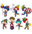 a set of circus clown vector image vector image