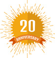 Anniversary sign 20 vector image