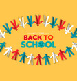 back to school card papercut children garland vector image