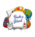 back to school round frame stationery items vector image vector image